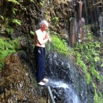 Image of Daizan Roshi doing waterfall practice at Hazuma Fudo-san during the site-seeing portion of our Japan trip in 2014.